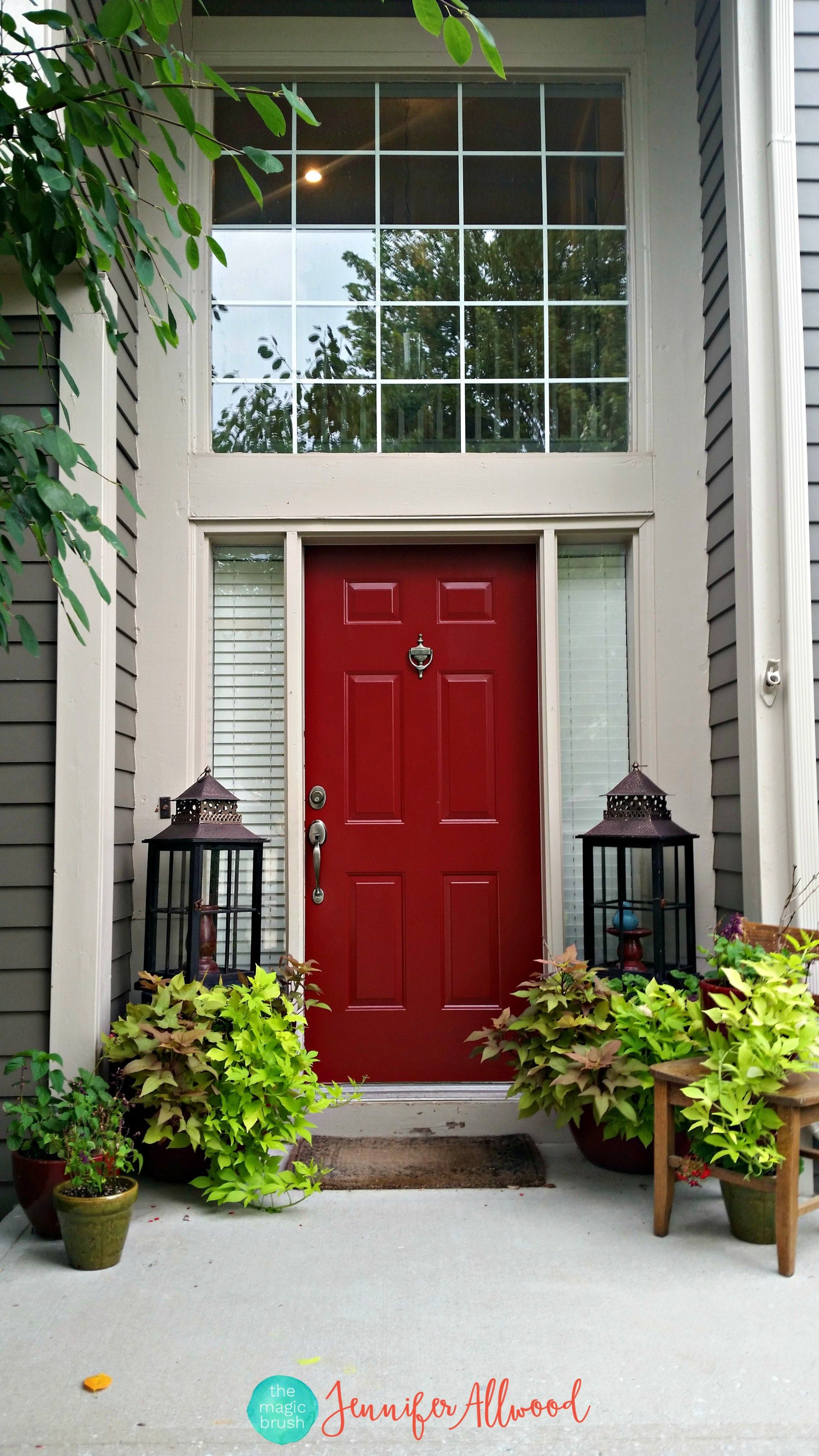 Painted Front Door In A Bold Red Color Painted Front Doors Front