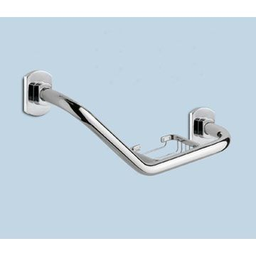 Polished Chrome Shower Grab Bar With Soap Holder Ed20 13 Susan Michaels S Bath Shower Grab Bar Grab Bars Bathroom Grab Rails