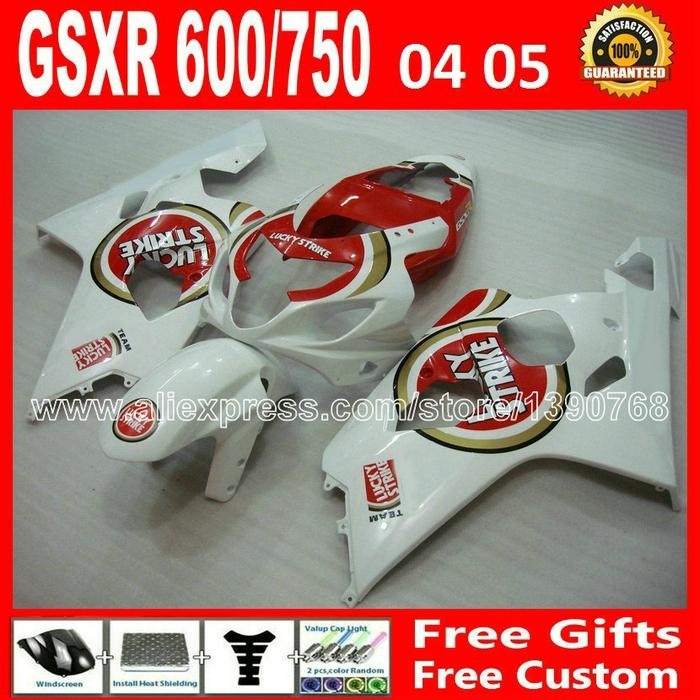 294.50$  Buy here - http://ali91q.worldwells.pw/go.php?t=32280517839 - Free custom for 2004 2005 glossy red white SUZUKI GSXR 600 750 fairing kit K4  gsxr600 DCG gsxr750 fairings kits 04 05 plastics 294.50$