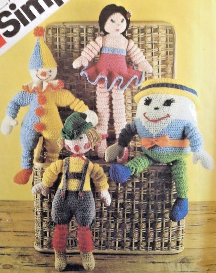 Vtg Simplicity 5681 Crochet Pattern Humpty Dumpty Doll Ballerina ...
