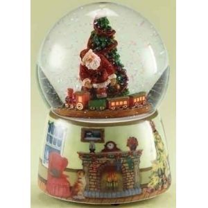 Roman Animated & Musical Santa Claus with Train Christmas Snow Globe Glitterdome