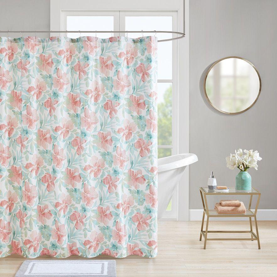Madison Park Flora Seersucker Shower Curtain Curtains Shower
