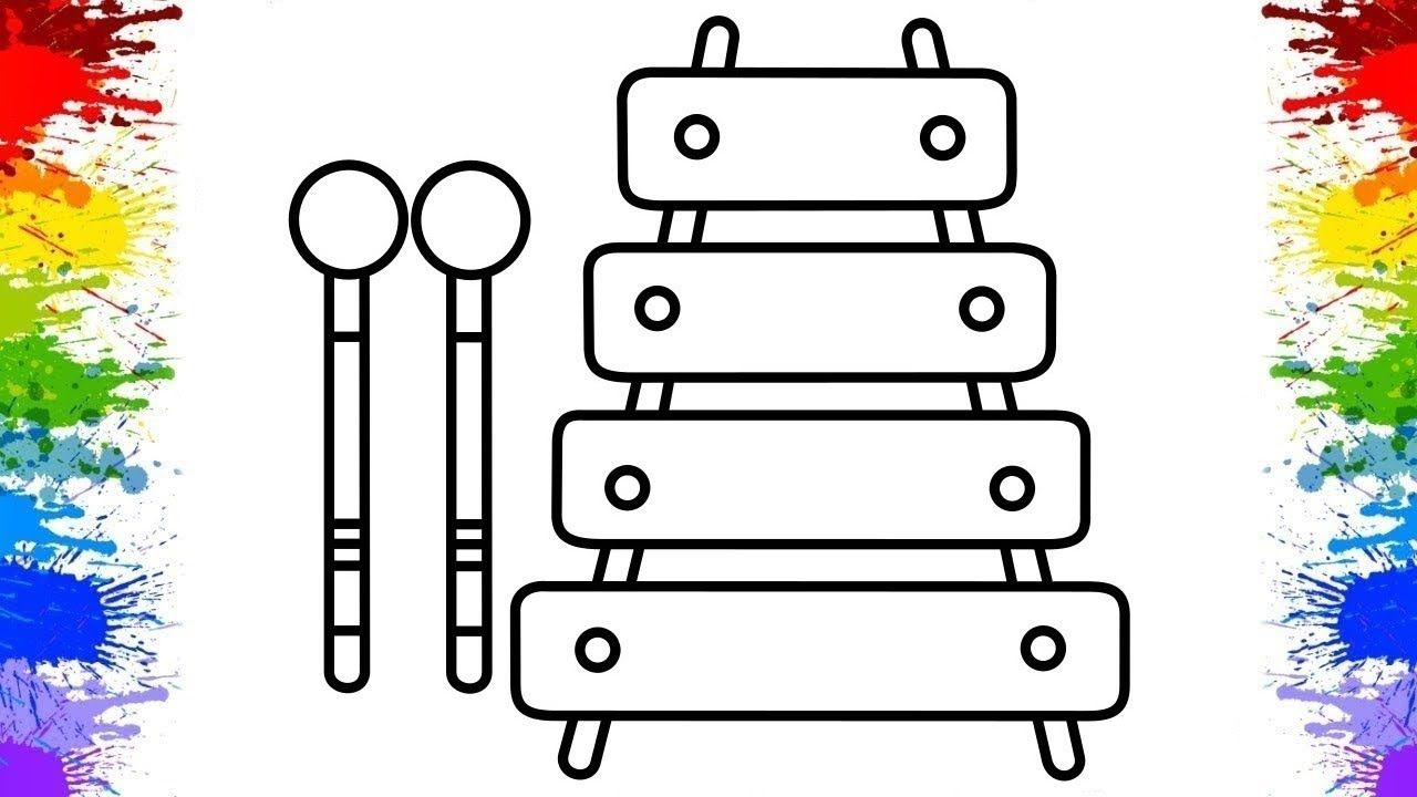 How To Draw Xylophone Musical Instruments For Kids With Images