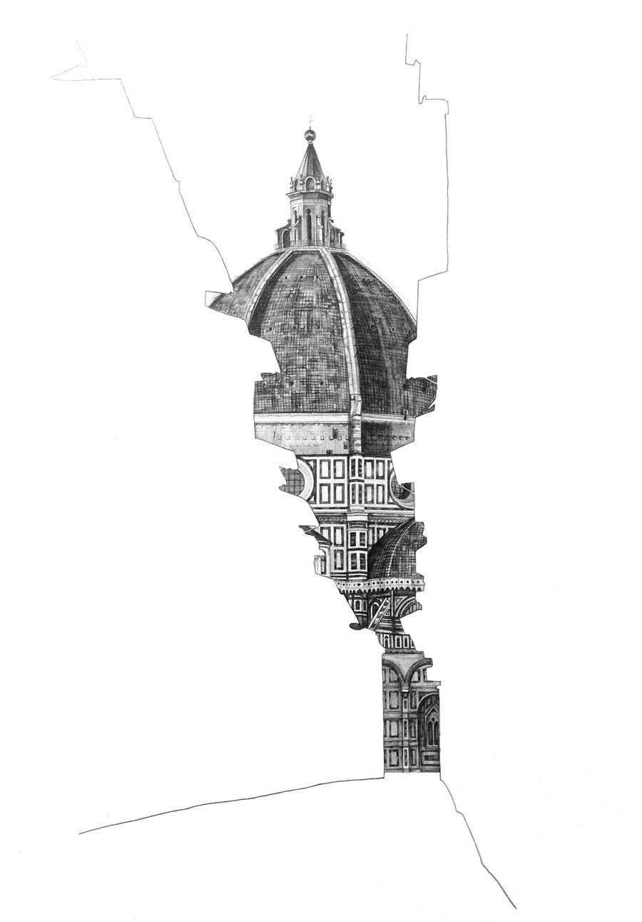 Architectural drawings behind empty building silhouettes for Art et architecture