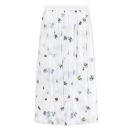 4d8b6b573c Story Wardrobe A-line Mesh Embroidery Insect Skirt Dress Summer Europe Style