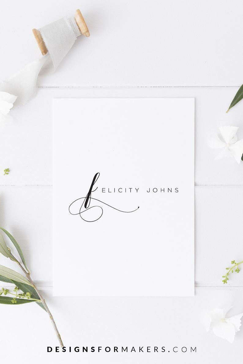 Premade logo design, Calligraphy logo, Monogram logo, Minimalist logo, Minimal logo, Elegant logo, F