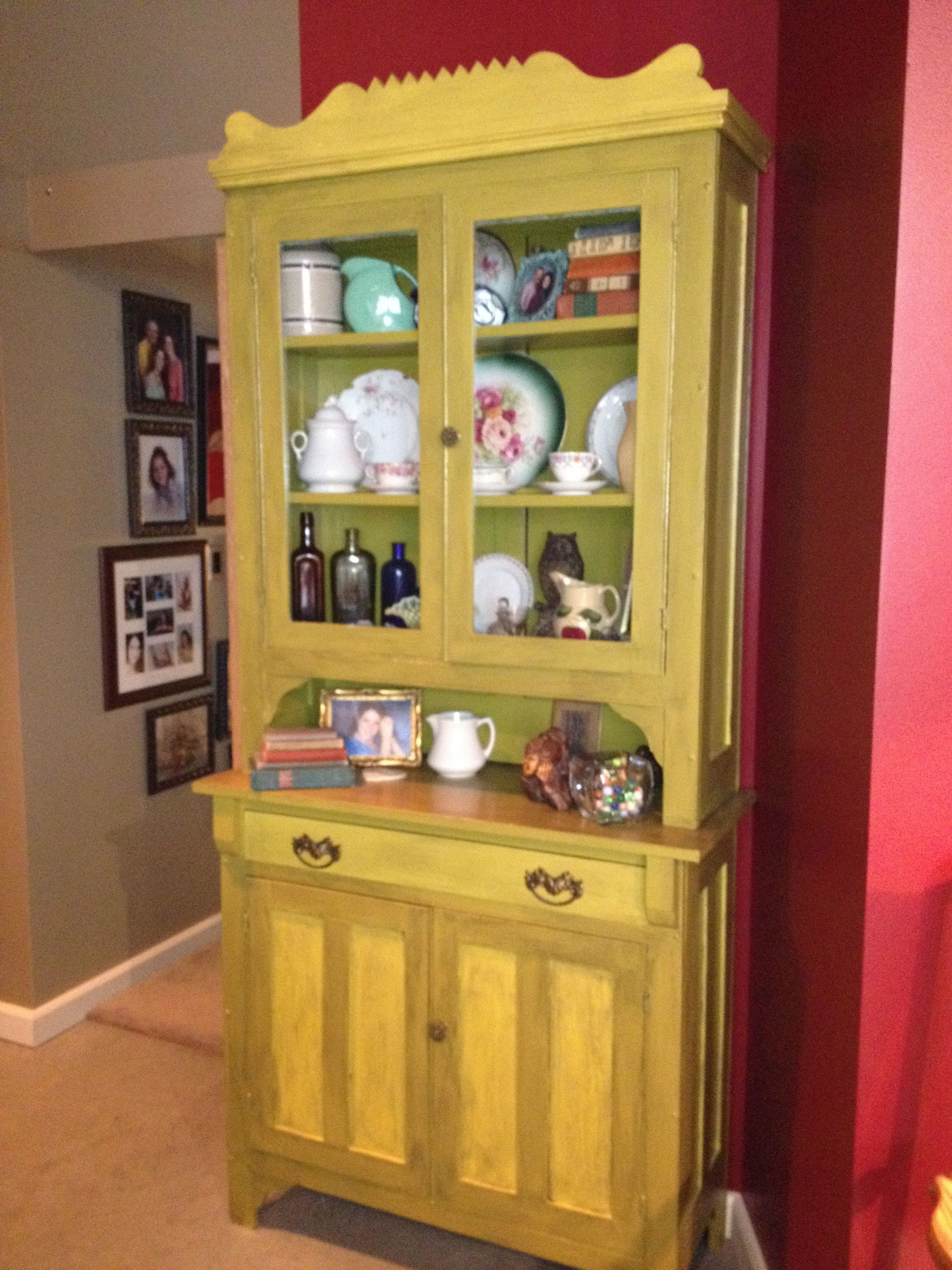 Antique hutch given a new look using paint from Home Depot. Colors ...
