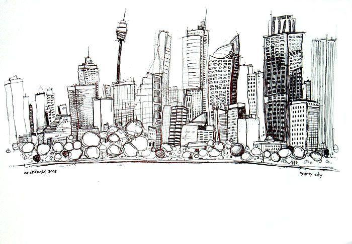 Sydney City pen drawing by Australian Artist Metropolitan