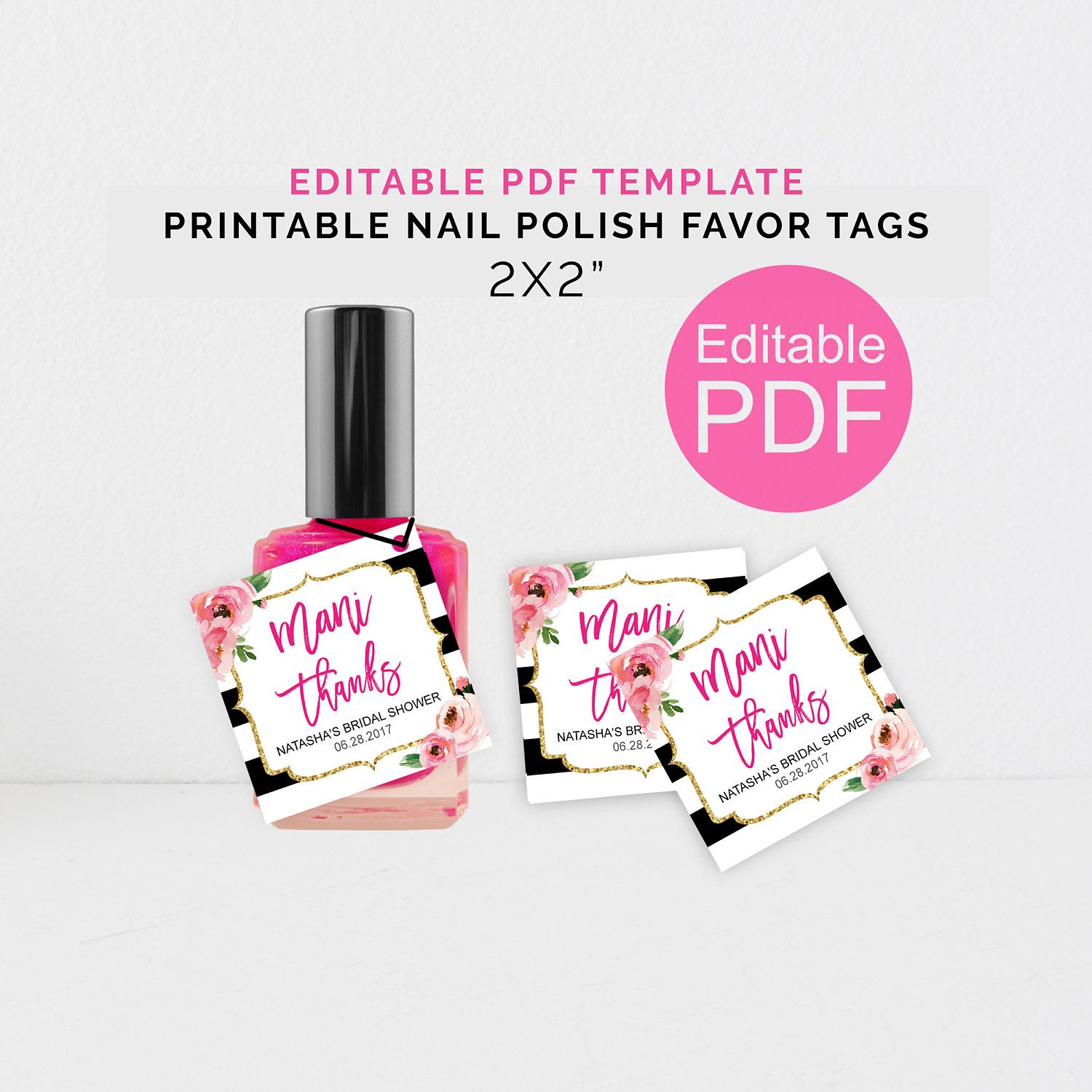 Personalized Mani Thanks Tags, Printable Kate Shower Nail