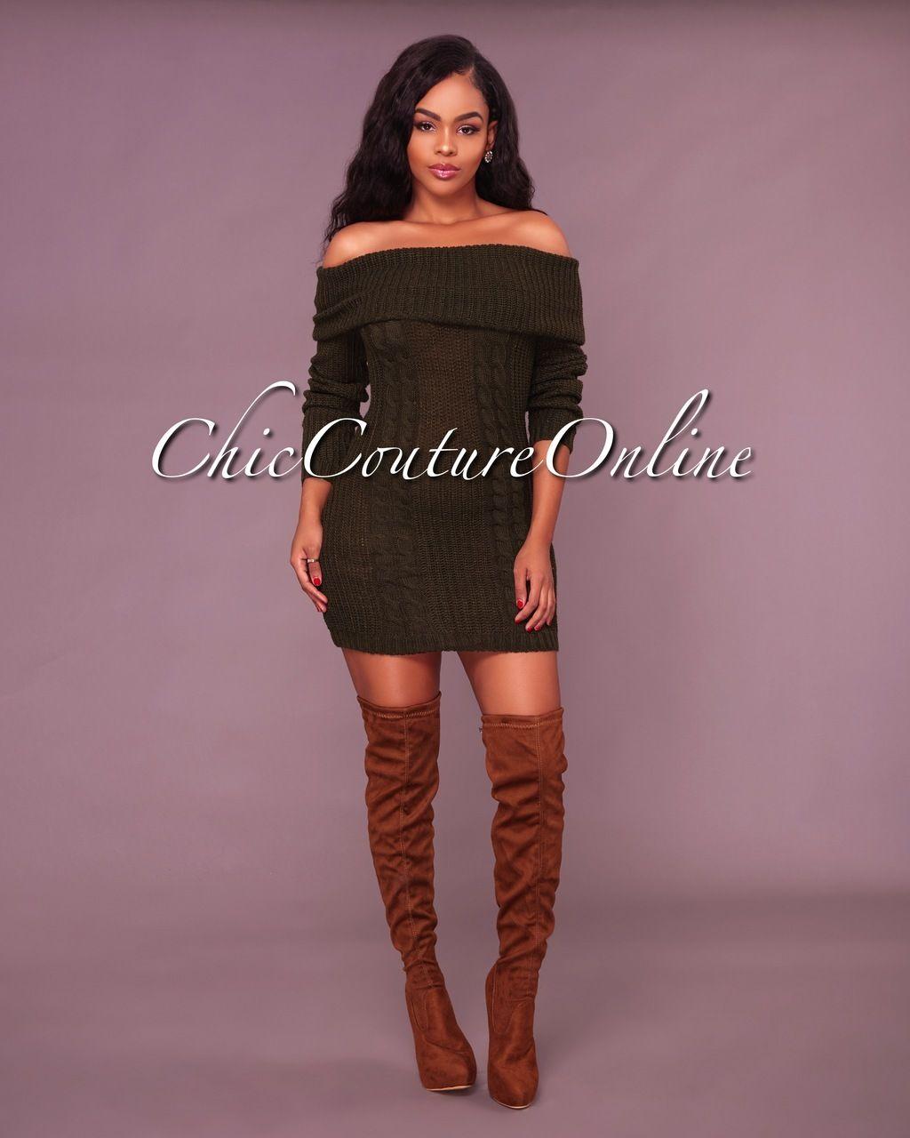 Jamila Olive Green Off The Shoulder Sweater Dress