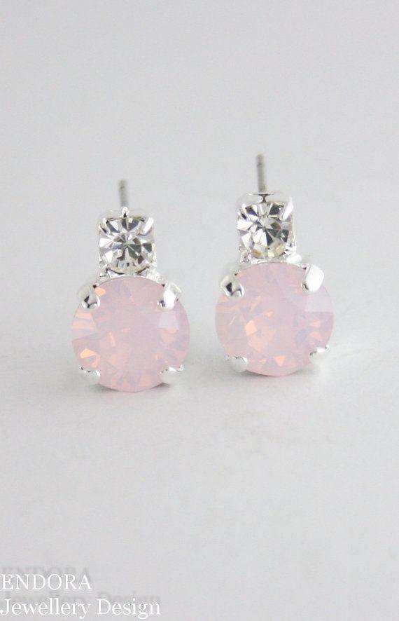 0c6731d07 Rose quartz crystal earrings,rose quartz,swarovski,small earrings,rose  quartz wedding,pink bridesmai