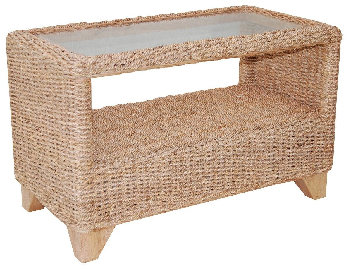 Furniture: Seagrass Coffee Table With Glass In Countertop With Artistic  Design Fill Your Space Room