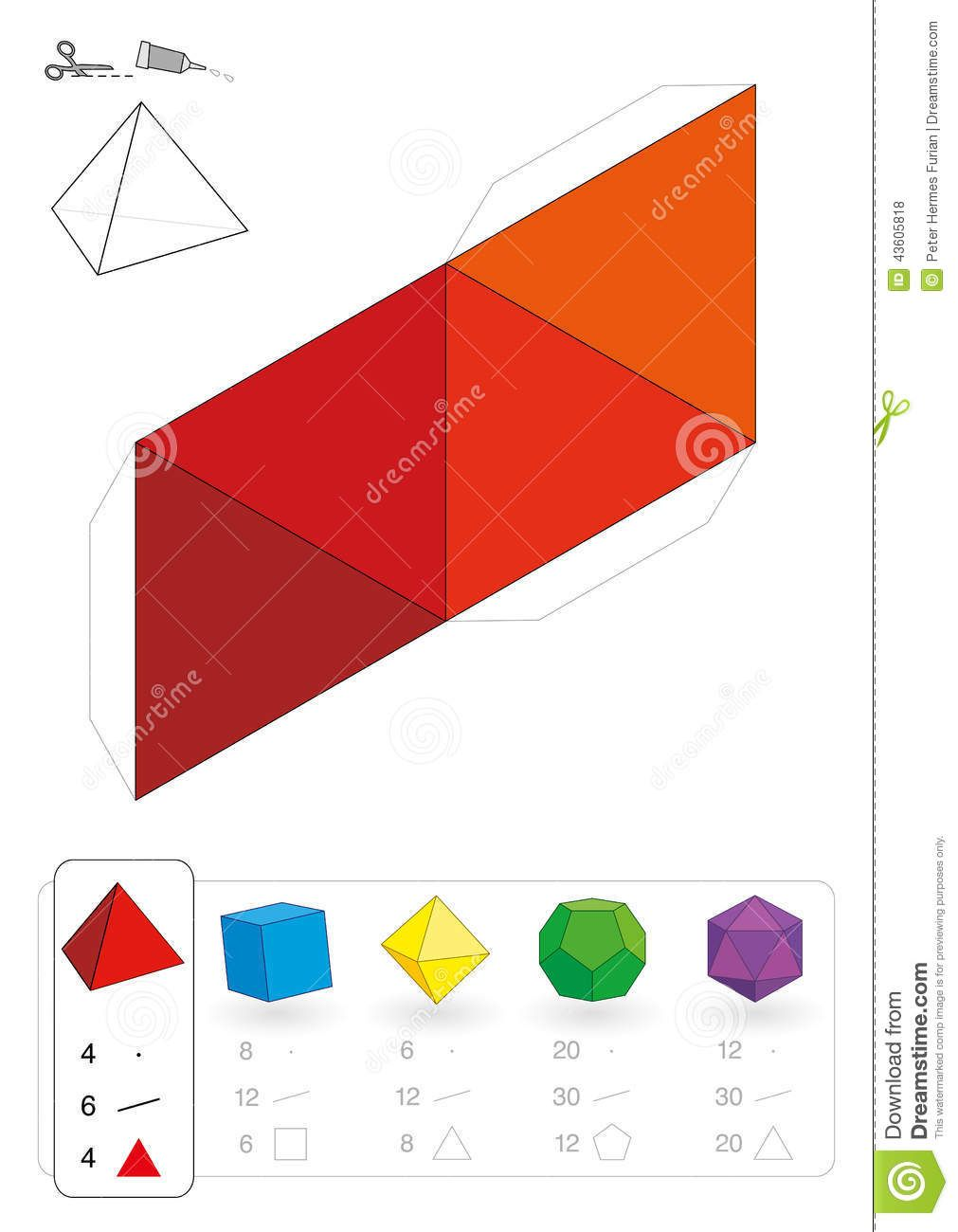 Paper Model Tetrahedron Photo About Dimensional Model Figure Platonic Polyhedron Handicraft Education Decorative Craft Paper Models Paper 3d Triangle