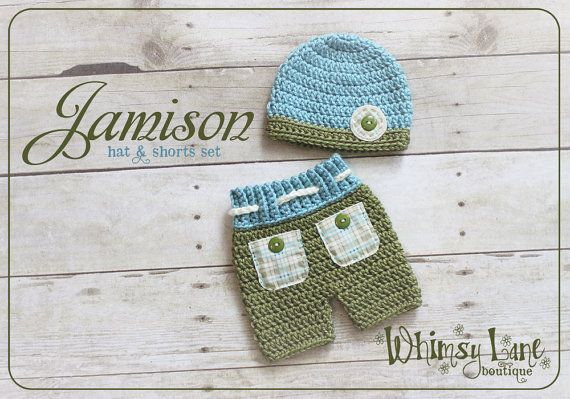 Newborn Shorts and Hat Set   Baby Photo Prop by whimsylaneboutique