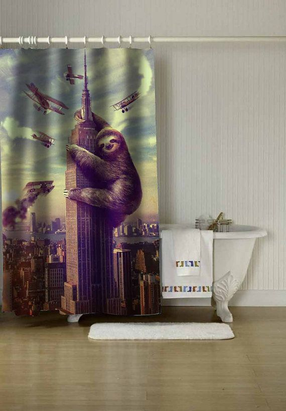 Slothzilla Shower Curtain Adorabel Batheroom In Size By C00ldin