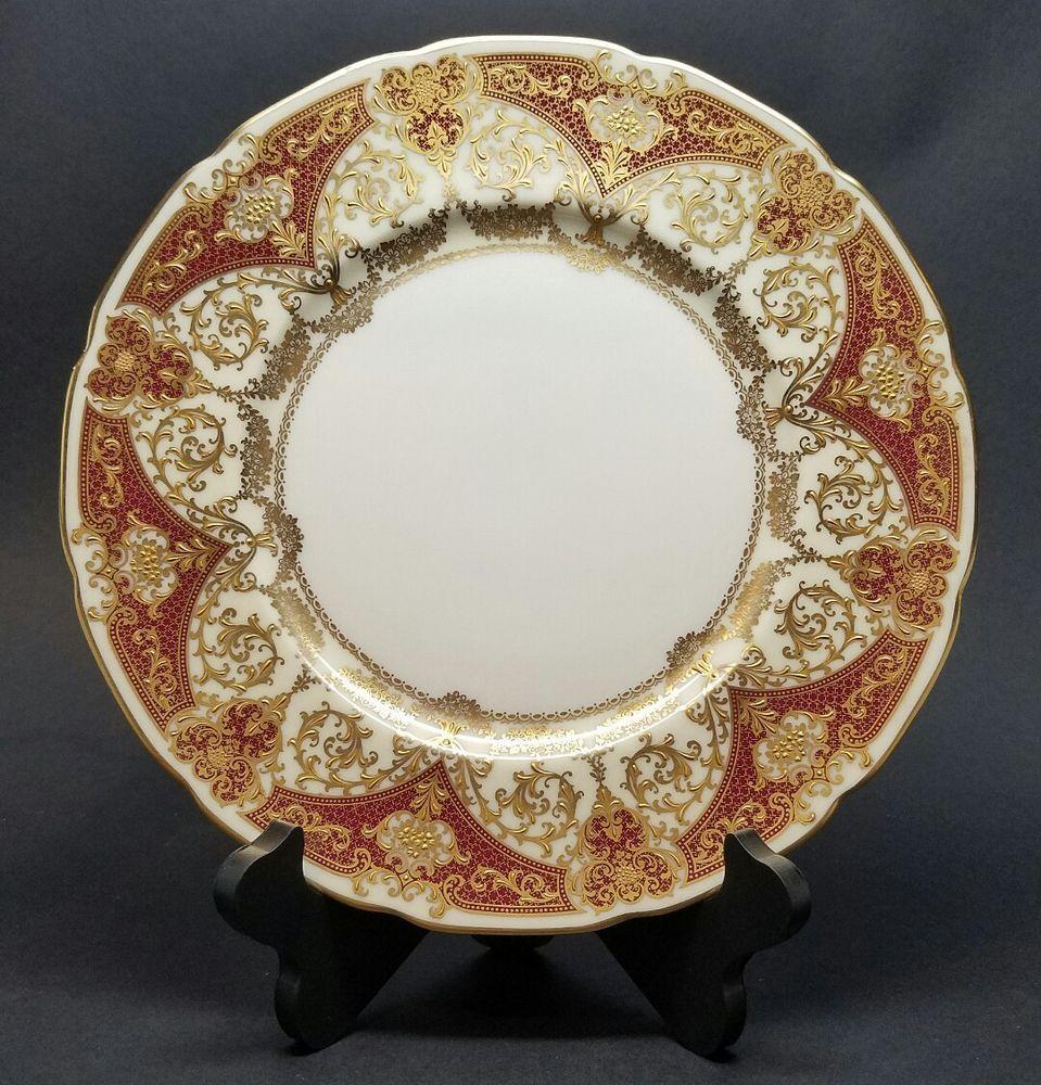 Vintage Lenox E442R 10.5\  Dinner Plate Green Label Raised Gold Encrusted Gilt   Pottery \u0026 & Vintage Lenox E442R 10.5\
