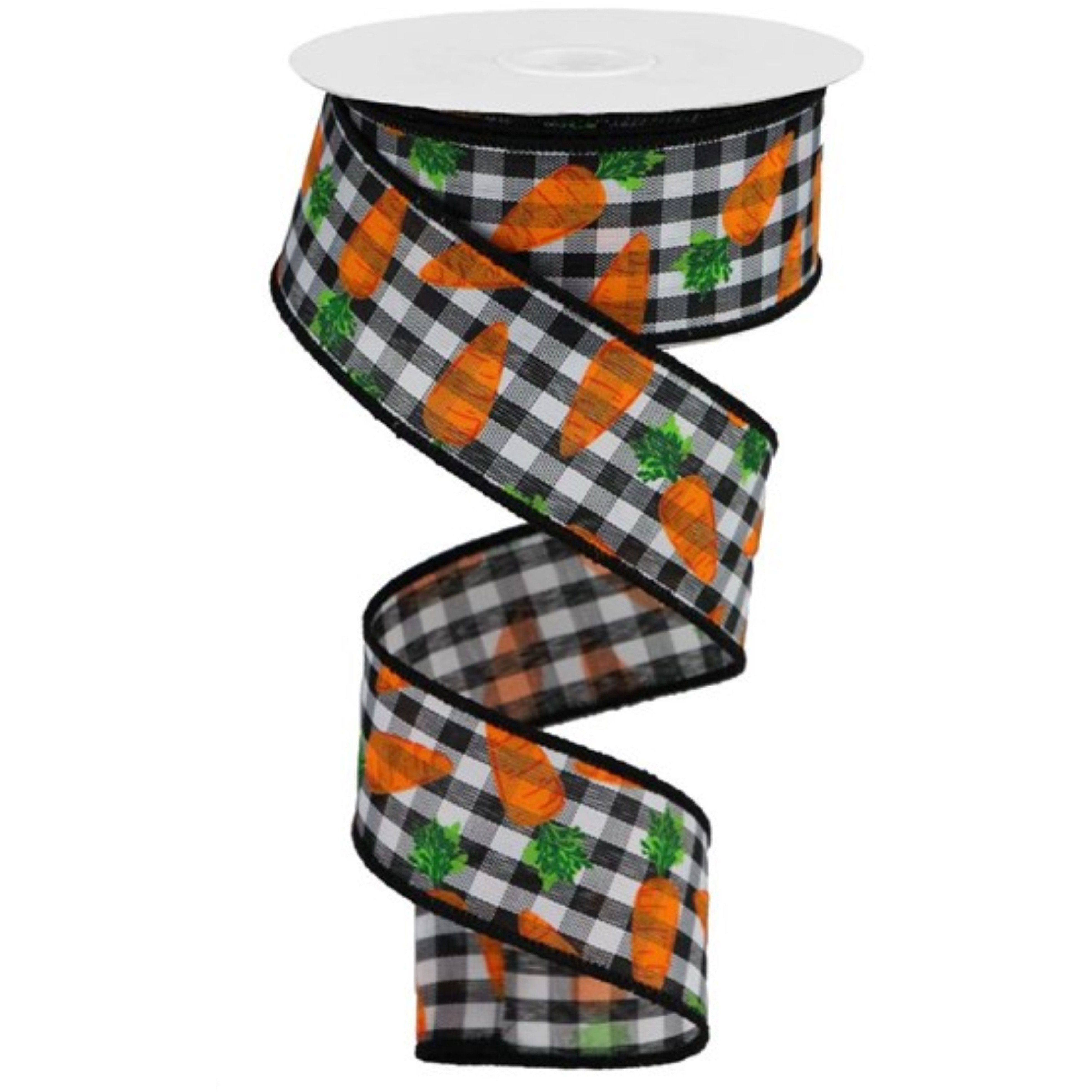 1 5 Carrots On Gingham Check Ribbon Black White 10 Yards Gingham Check Black White Gingham