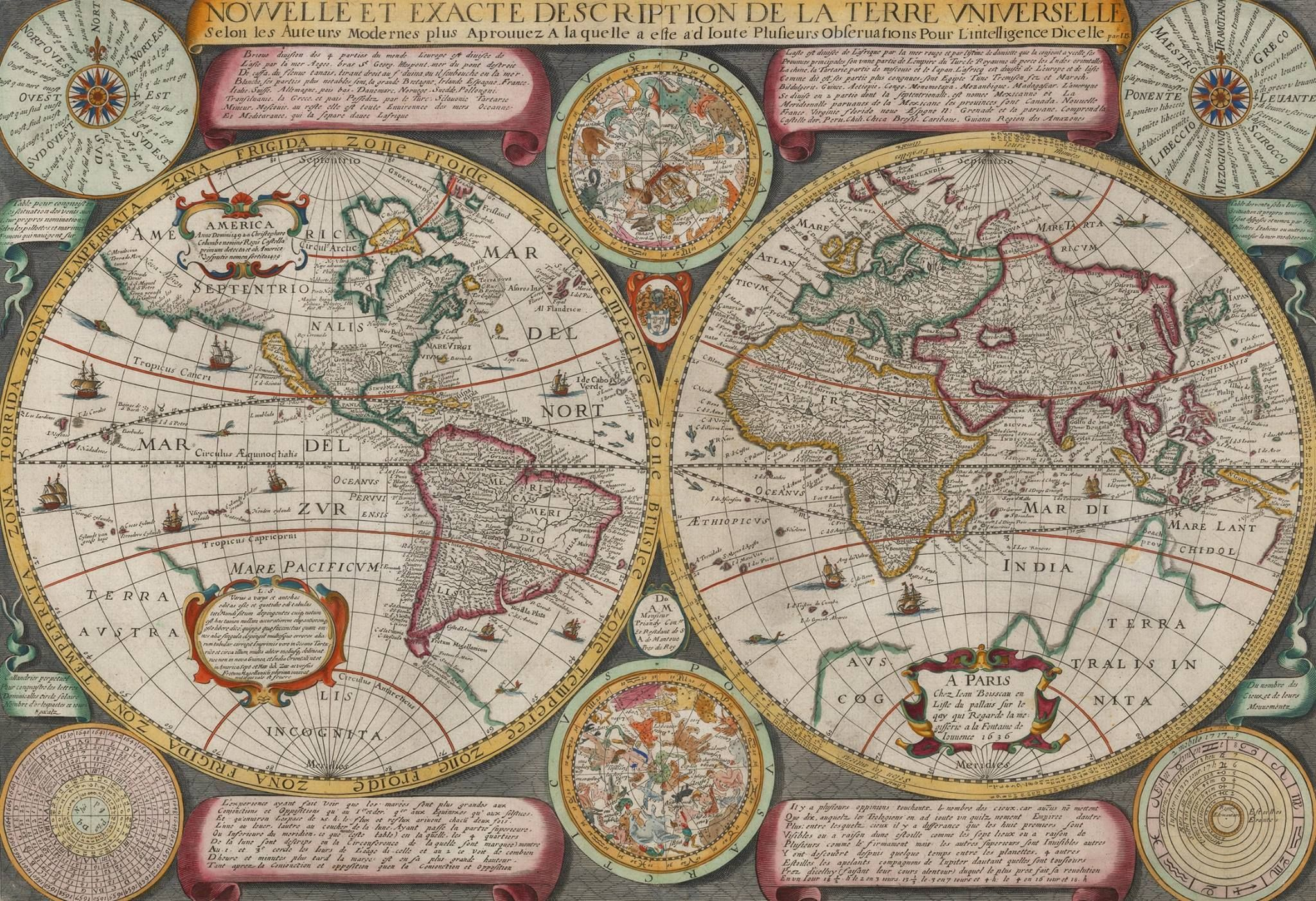 Map of the world by jean boisseau 1636 the map is boisseaus first map of the world by jean boisseau 1636 the map is boisseaus first world map gumiabroncs Images