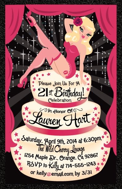 Rockabilly Pinup Girl 21st Birthday Invitation Party Pinterest
