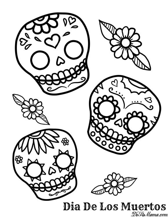 A Beautiful Mexican Day Of The Dead Free Printable For Even The Youngest  Artist To Enjoy.