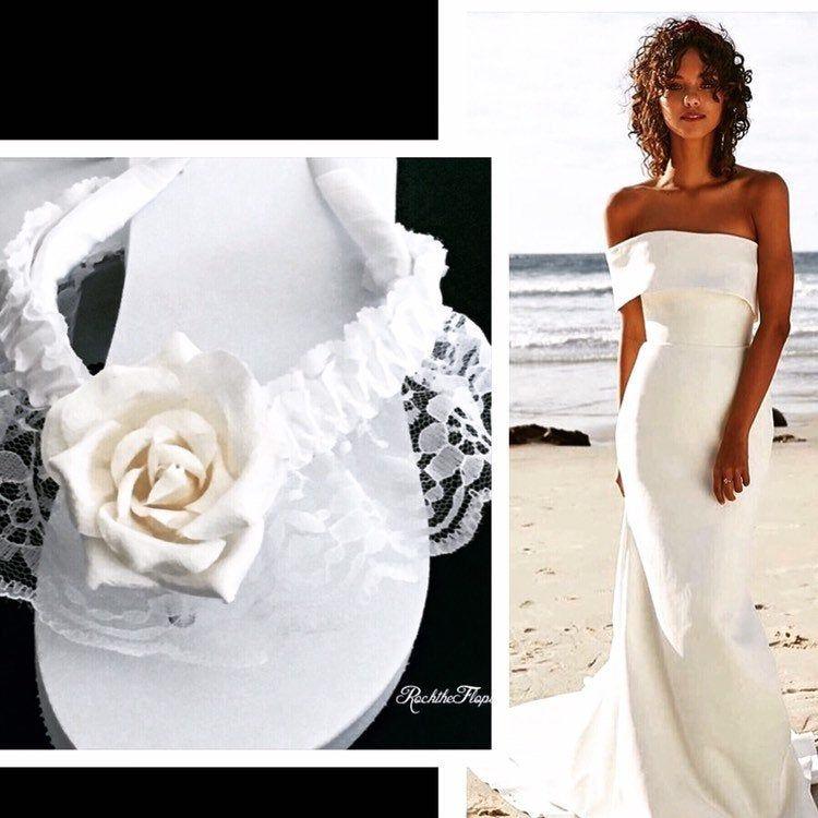 Ivory Bridal Flip Flops Wedges For Bride Lace Wedding Flip Flops