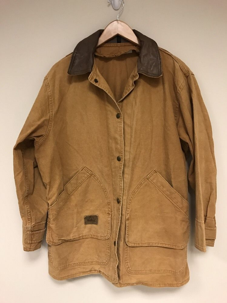 60b59fa533e Woolrich Medium USA MADE Barn Field Hunting Coat Jacket canvas leather  collar
