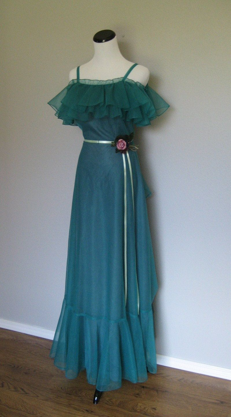 1980s prom dress / Vintage Blue-Green Gown. $39.00, via Etsy ...