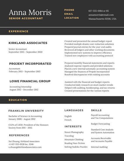 Stock Accountant Sample Resume Black And White Minimalist College Resume  Work  Pinterest .
