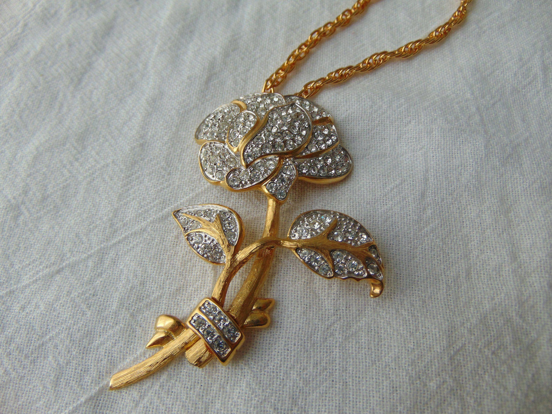 68d11aafbd0b9 vintage nolan miller crystal rose pendant necklace signed pave clear ...