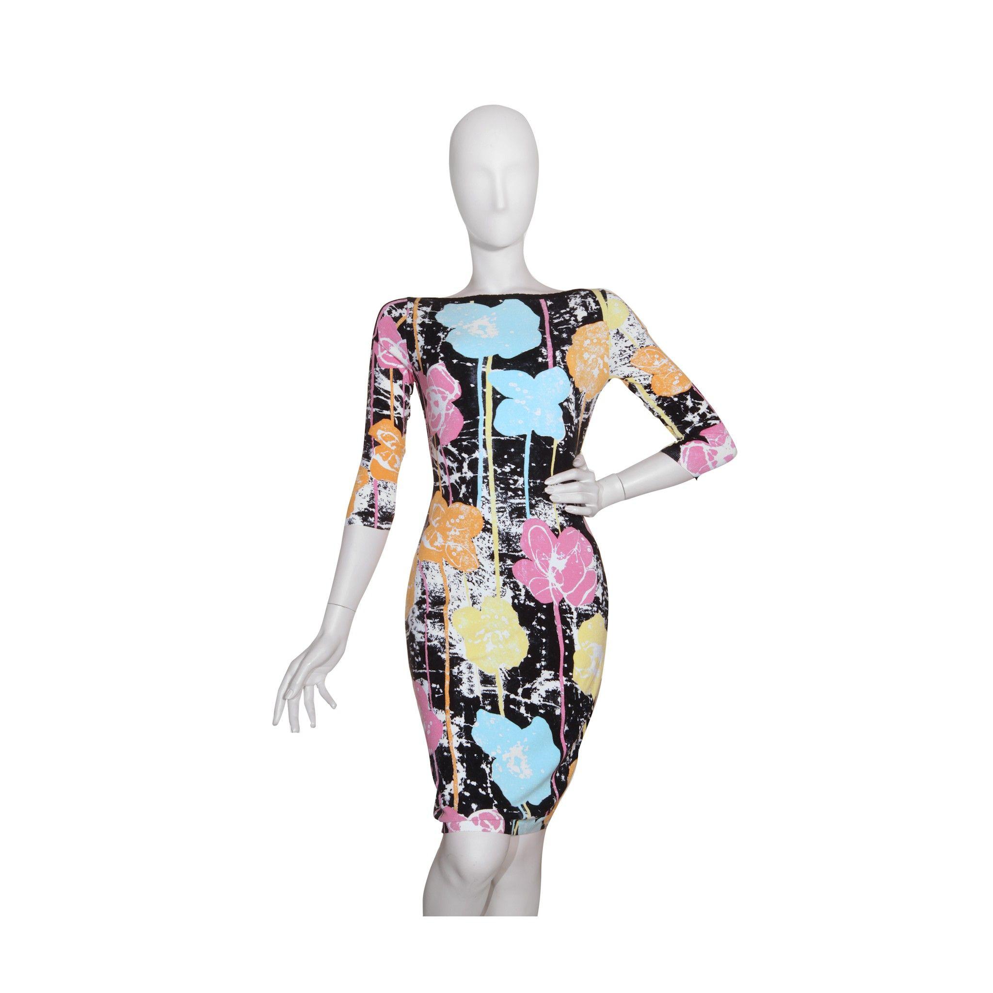 Rayon dress, boat neck, flower fantasy colour, longuette   85% wool 15% polyester #Blumarine