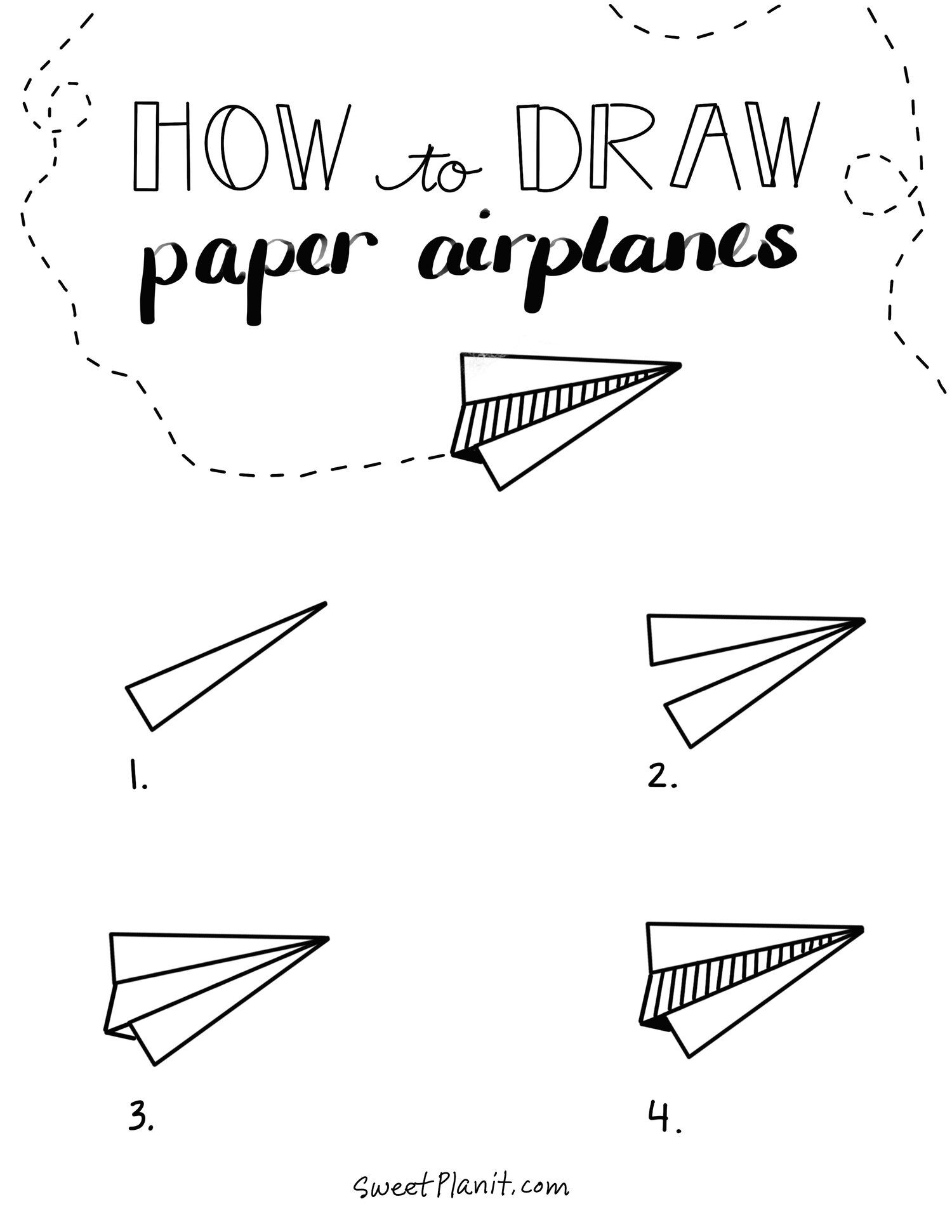 How To Draw Paper Airplane Doodles In 2020 Paper Airplanes