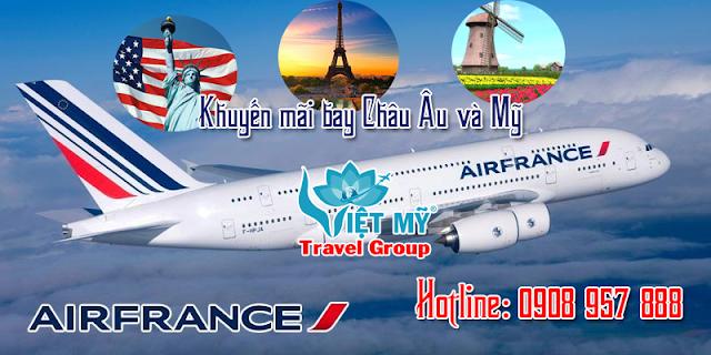 Bay Châu Âu, Mỹ cùng Air France từ HCM Air france, Châu