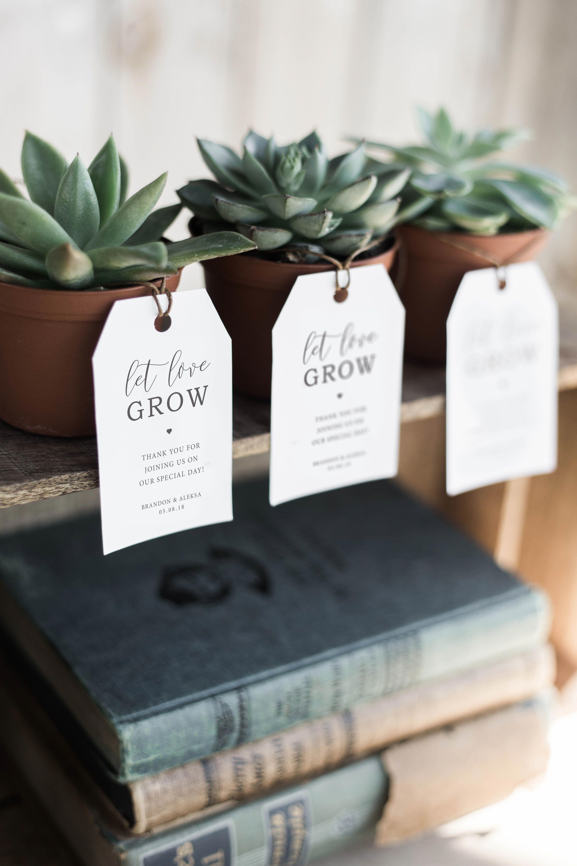 Printable botanical favor tags printable succulent favor tag garden tags Plant wedding favor tag let love grow tag garden wedding tags
