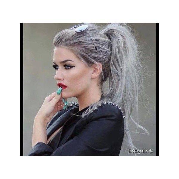 اعتمدي أجمل صبغه لون رصاصي وتأل قي بإطلالة عصرية Liked On Polyvore Featuring Faceclaim Hair Styles Messy Ponytail Hairstyles Silver Hair Color