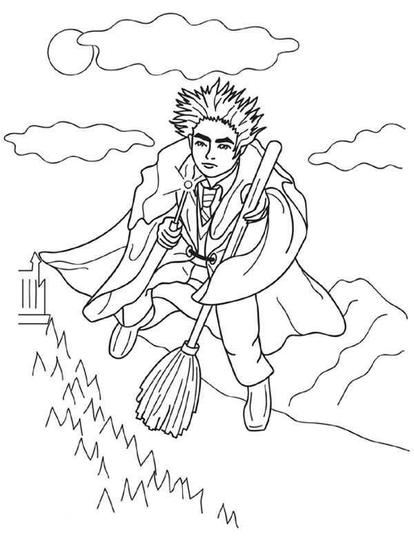 Harry Potter Flying With Nimbus 2000 Coloring Page Netart Harry Potter Coloring Pages Coloring Pages Potter