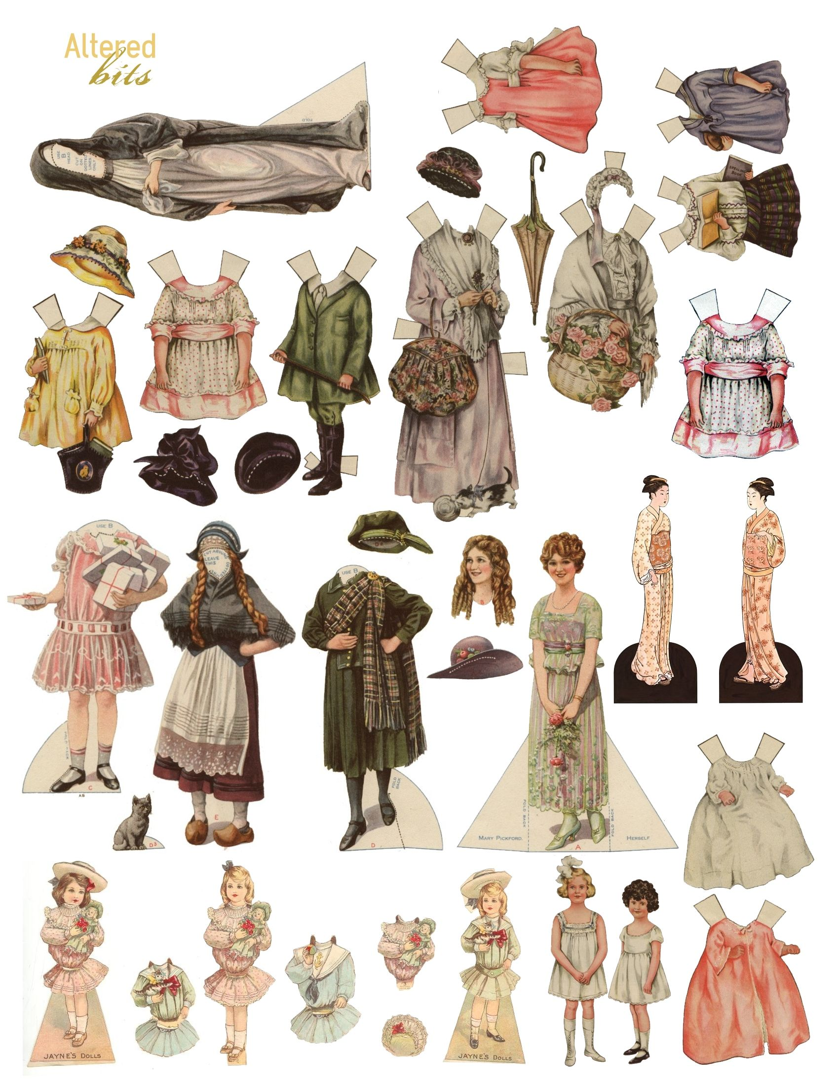 Where can you find free paper doll printouts?