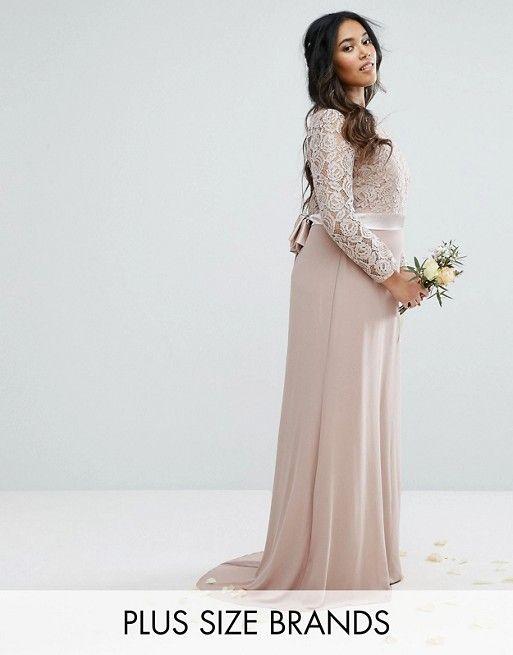 466dae67392 TFNC Plus Wedding Lace Maxi Dress With Bow Back  91.00
