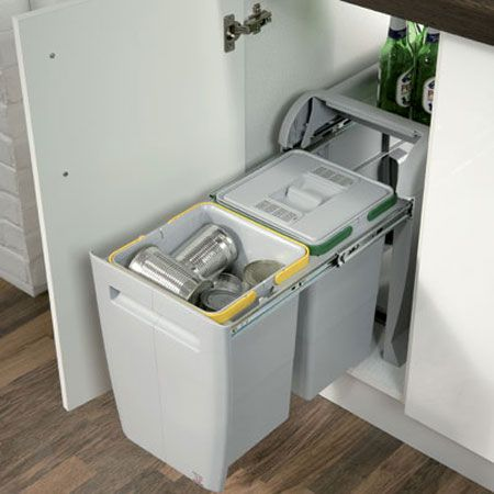 City Pull Out Waste Bin For Home Recycling 2 X 12 Litres Bins Cabinet 24 50213502