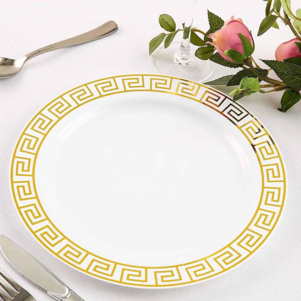 10 Pack 10 White Round Plastic Disposable Dinner Plates With Geometric Design Hot Stamped Gold Rim Plastic Party Plates Plastic Dinnerware Plates