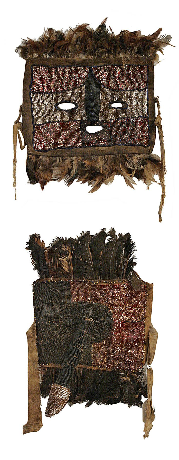Africa | Initiation mask and loin cover from the Tabwa people of DR Congo | Textile, glass beads, feathers and leather