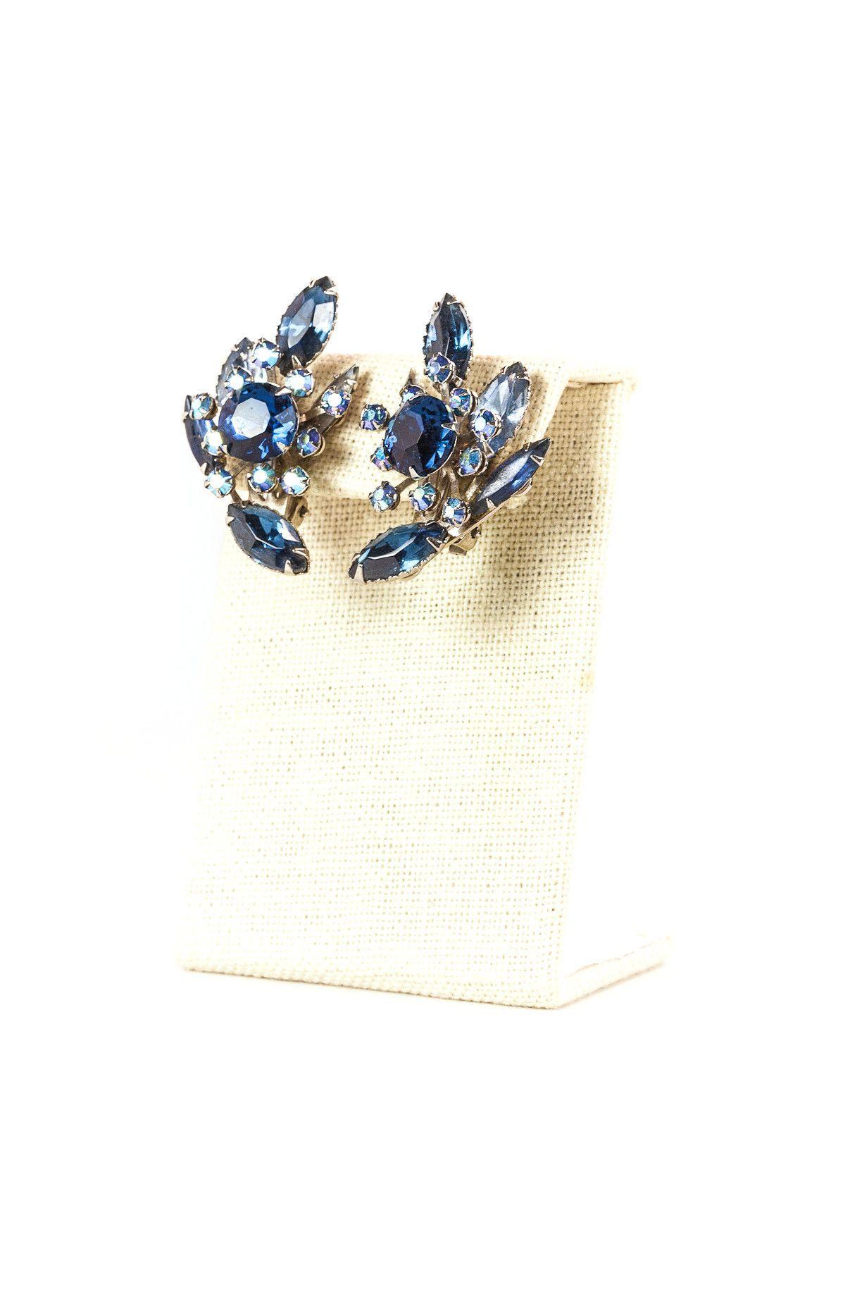 Vintage Beaujewels Blue Rhinestone Clip On Earrings
