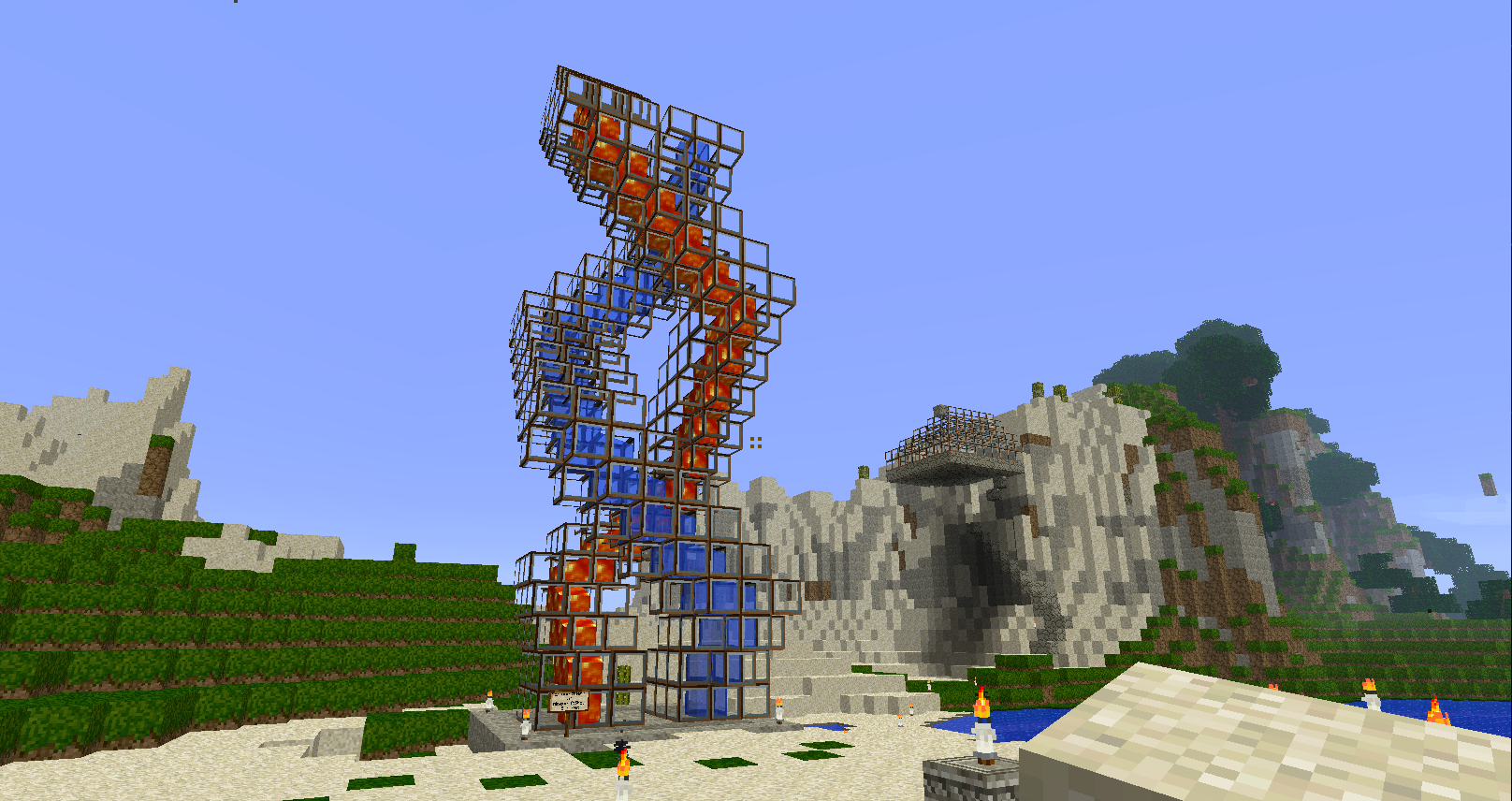 Some weird cool water and lava thing!  Cool things to build