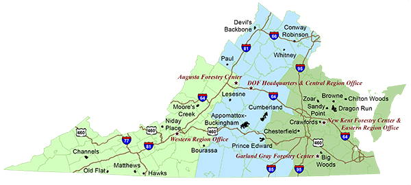 Map Of Virginias State Forests Virginia Pinterest State - Map of virginia state
