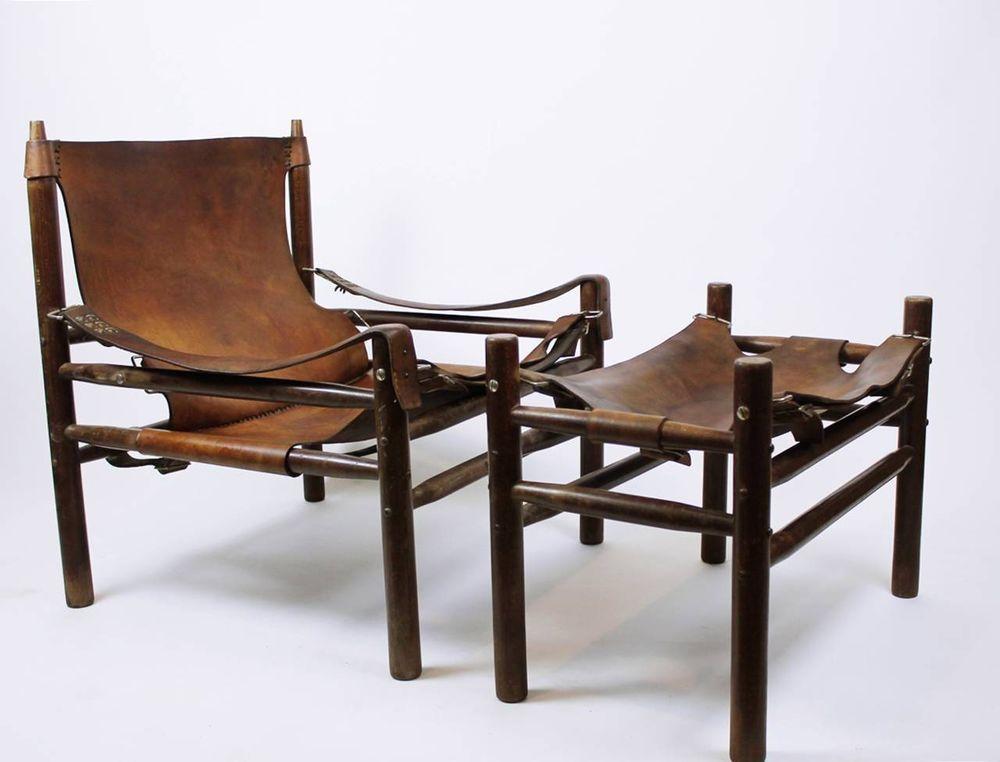 Sklum sedie ~ Rare vintage 60s cowhide leather safari lounge chair and ottoman