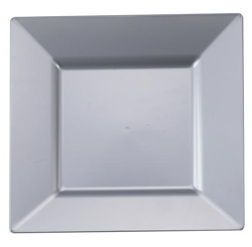 "8"" Square Silver Plastic Salad Plates Plastic plates"