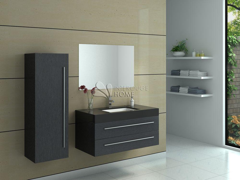 Meuble de salle de bain en bois avec simple vasque coloris Noir Réf