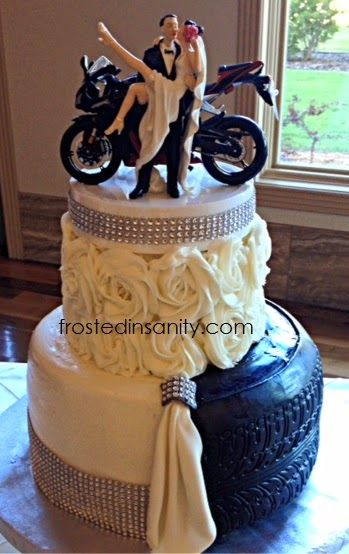 Bling And Motorcycles Wedding Cake