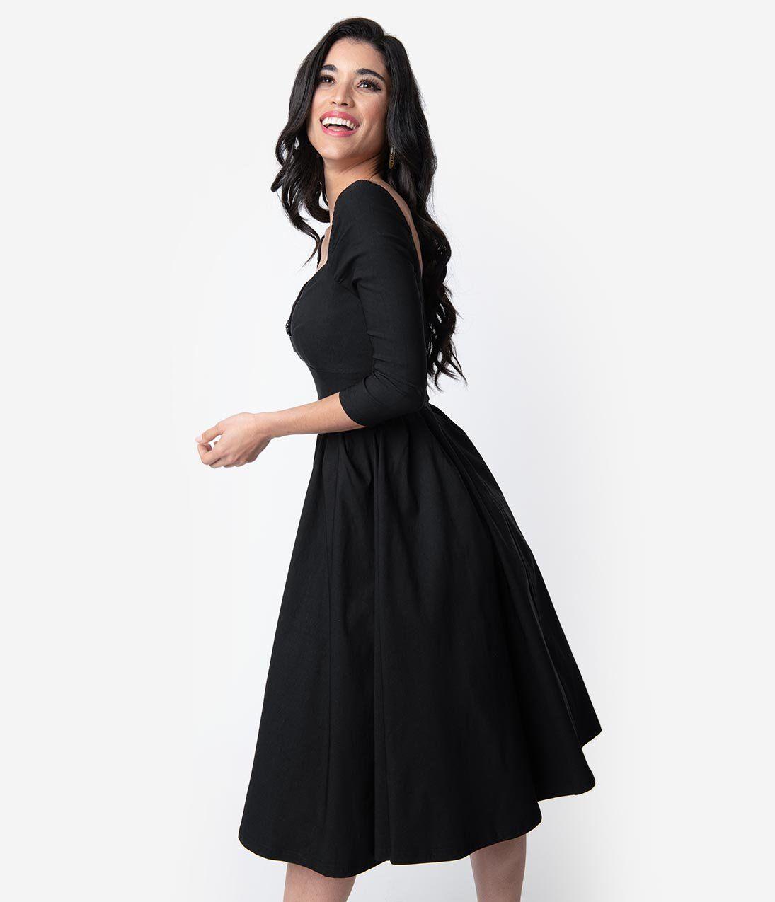 Unique Vintage 1950s Style Black Sweetheart Lamar Swing Dress Vintage Black Dress Vintage 1950s Dresses Parties Vintage 1950s Dresses [ 1275 x 1095 Pixel ]