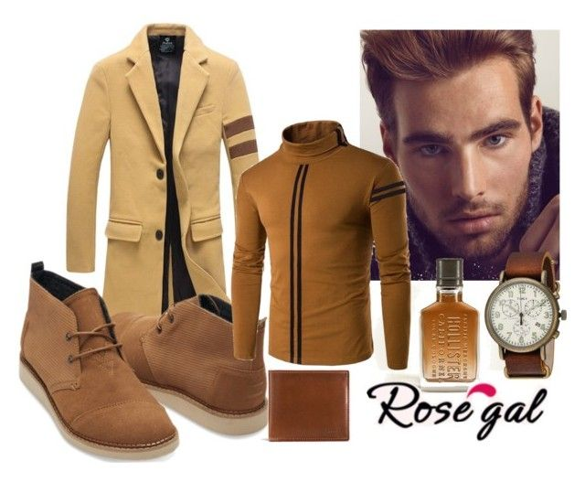 """""""Brown :)"""" by mercija ❤ liked on Polyvore featuring TOMS, Sebastian Professional, Hollister Co., Coach, Timex, men's fashion, menswear, khaki, coat and men"""