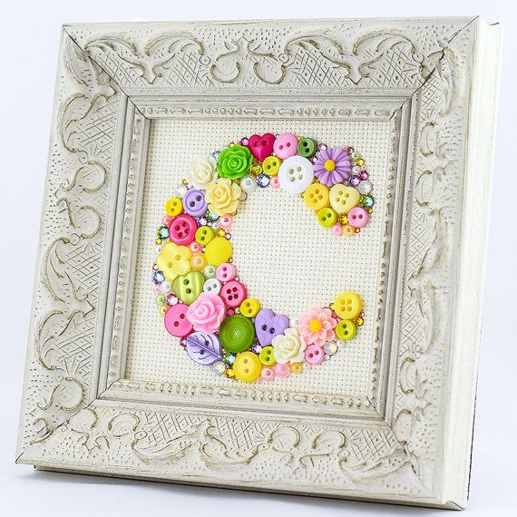 Custom Monogram Letter - Framed Multicolor Button Letter Art ...